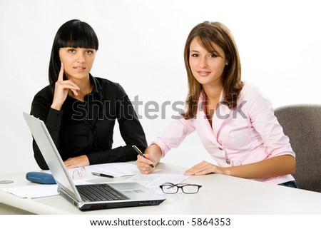 students with documents and laptop - stock photo