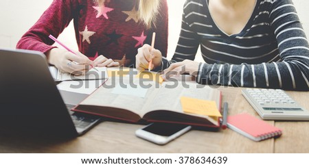 Students Women Brainstorming Project Discussion Concept - stock photo