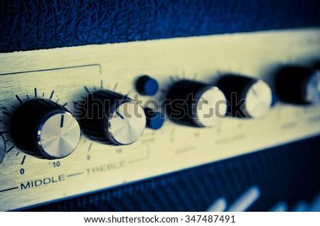 studio amplifier equipment with sliders - stock photo