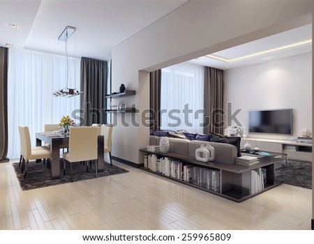 Studio apartment modern style, 3D images - stock photo
