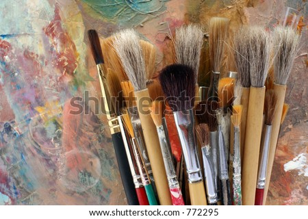 Studio art palette and brushes 2