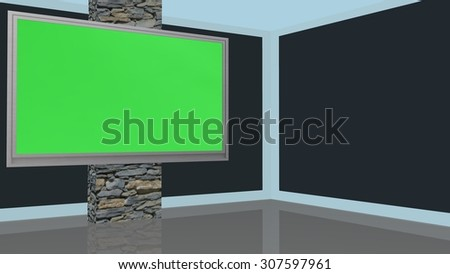 Studio Background with green screen monitor wall - stock photo