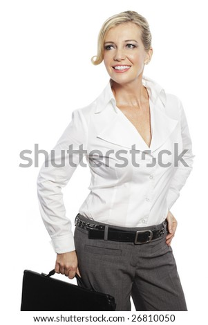 Studio beauty shot of blonde Caucasian woman holding briefcase and looking into camera isolated in white. - stock photo