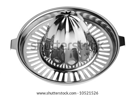 Studio close-up of a stainless steel citrus juicer isolated against white background - stock photo