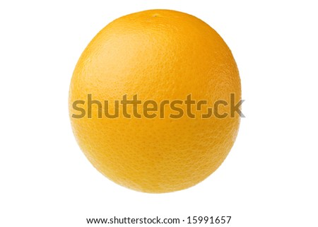 Studio close-up of a whole orange fruit against white