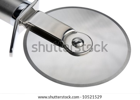 Studio close-up wheel section of a stainless steel Pizza cutter - stock photo