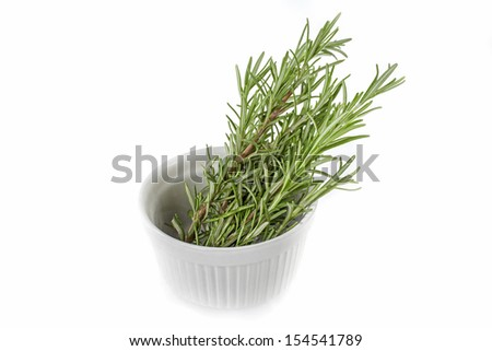 studio closeup photo of rosemary branches in white ceramic bowl on white background