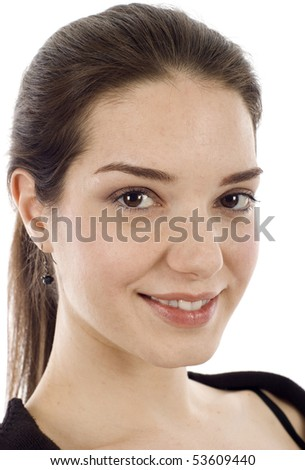 Studio closeup portrait of beautiful woman isolated over a white background - stock photo