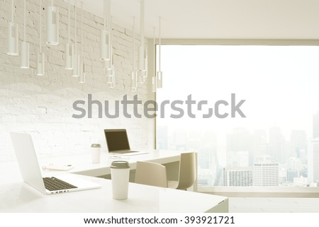 Studio design with brick wall, white desktop and panoramic window. 3D Render
