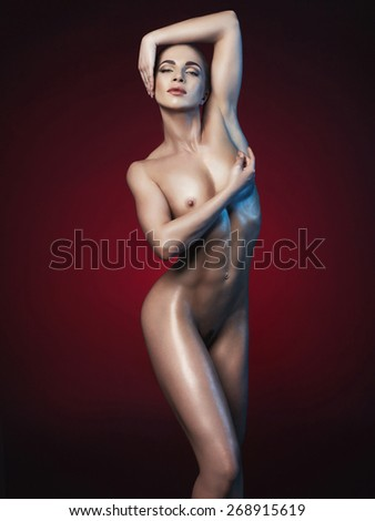 Studio fashion photo of nude fitness woman. Perfect body. Health and beauty - stock photo