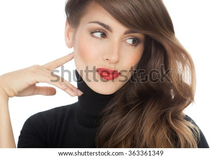 Studio fashion portrait of a beautiful top model woman with smooth hair. Fashion and beauty concept in studio.  - stock photo
