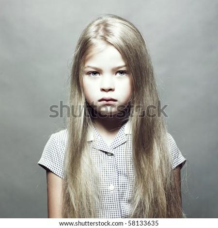 Studio fashion portrait of charming little girl - stock photo