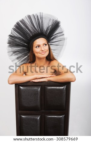 Studio female portrait - stock photo