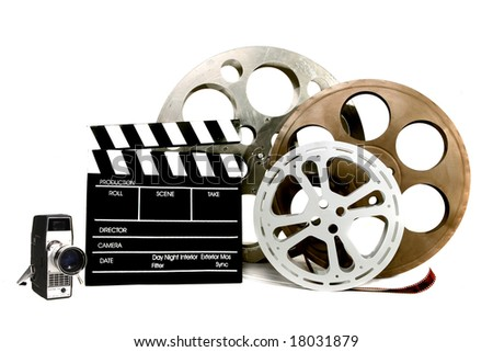 Studio Film Items Canisters Vintage Video Camera and Director Clapper - stock photo