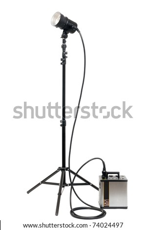 Studio flash isolated on white - stock photo