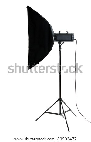 Studio flash on white background - stock photo