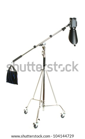 Studio flash with background reflector on white - stock photo