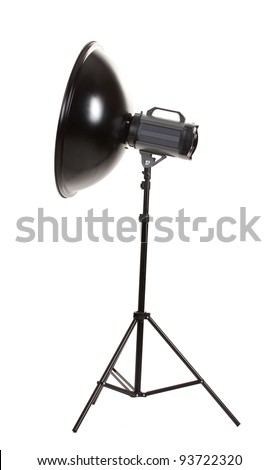 Studio flash with beauty dish isolated on white