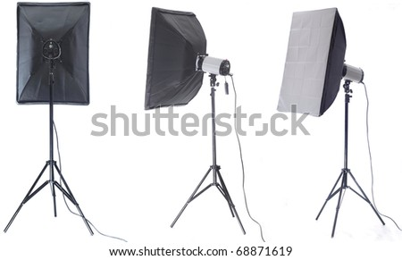 Studio flash with soft-box isolated on a white background - stock photo