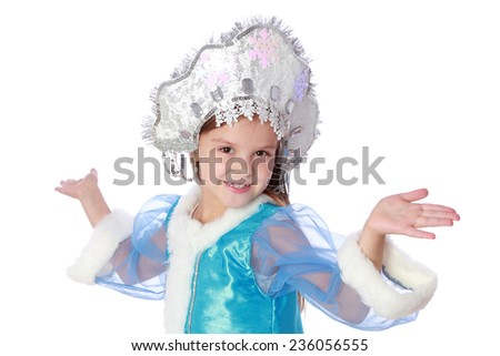 Studio image of a charming little girl with a sweet smile in a nice suit Russian Snow Maiden on a white background for Christmas - stock photo