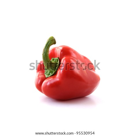Studio image of a red bell pepper. Isolated against a white background. Copy space. - stock photo