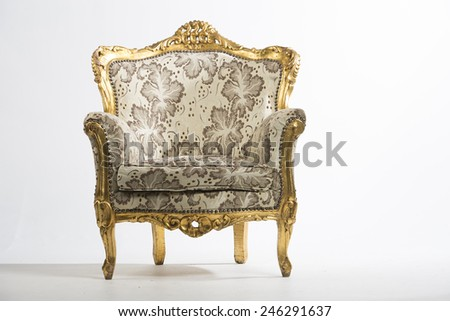 Studio Image Of A Vintage Victorian Chair With Golden Frame On White  Background. Concept Image