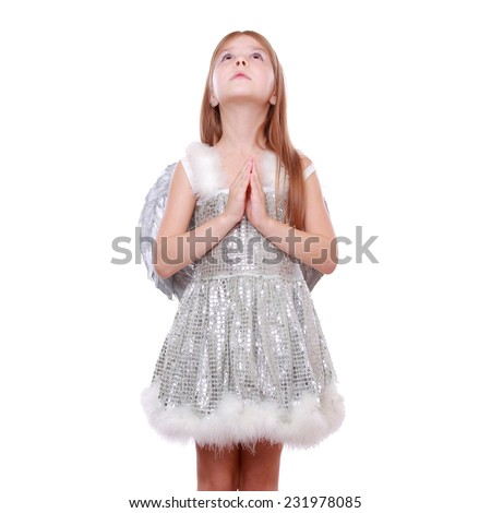 Studio image of silver little angel isolated on Christmas/Little fairy angel with magic wand laughing  - stock photo