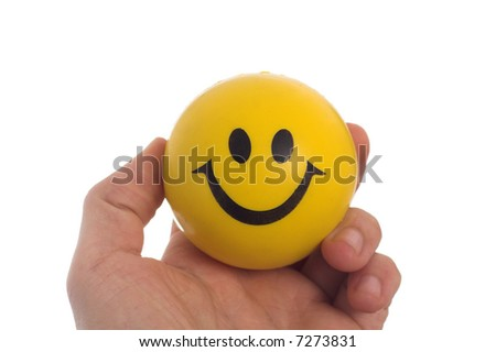 studio isolated image of a yellow toy ball - stock photo