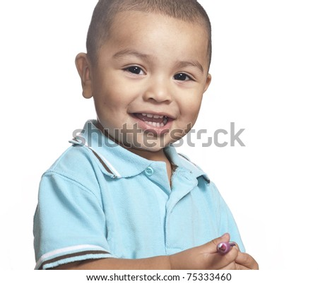 Studio isolated photo of smiling little toddler boy - stock photo