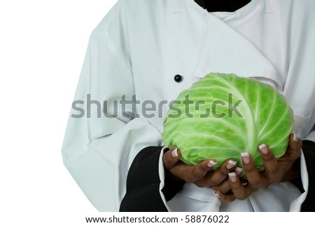 Studio isolated woman female chef with green cabbage on white - stock photo