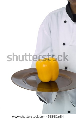 Studio isolated woman female chef with yellow pepper on white - stock photo