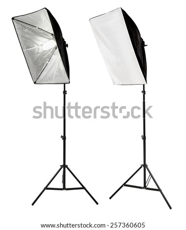 studio light bulb in softbox isolated on white background - stock photo