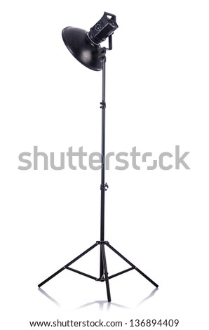 Studio light stand isolated on the white - stock photo