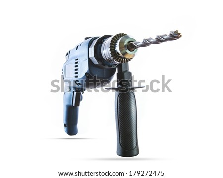 studio lighting close up and perspective distortion of electric hand drilling on white background use for industry tool home working equipment and diy home work instrument topic - stock photo