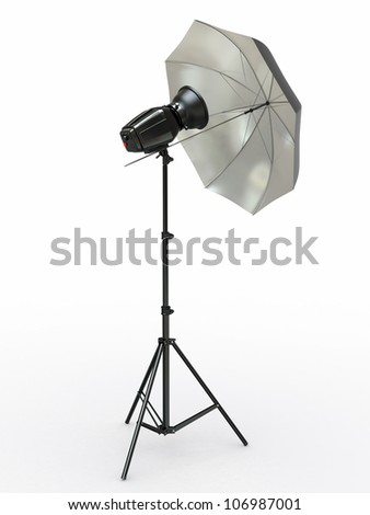 Studio lighting equipment. Flash and umbrella. 3d