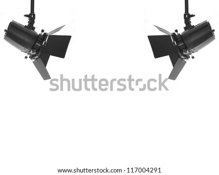 Studio lighting equipment isolated against a white background - stock photo