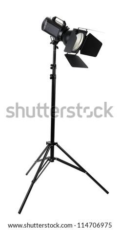 Studio lighting isolated on white - stock photo