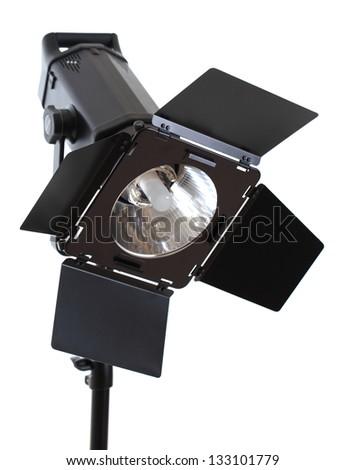 studio lighting isolated on white background - stock photo
