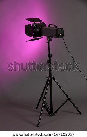 Studio lighting on grey background close-up