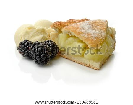 Studio macro of fresh apple pie, vanilla ice cream and seasonal fruit with soft shadows on a white surface. Copy space. - stock photo