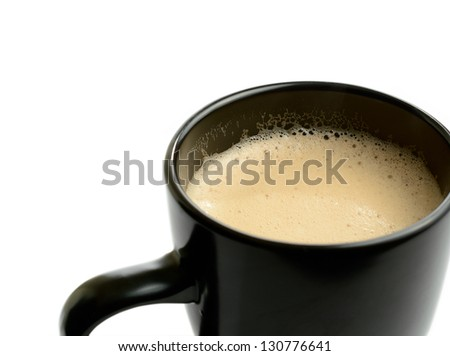 Studio macro of fresh hot frothy latte in a mug with soft shadows on a white surface. Copy space. - stock photo