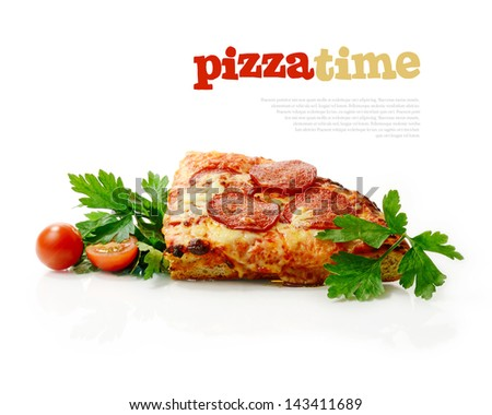 Studio macro of freshly baked pepperoni pizza slice with salad garnish and tomatoes against a white surface. Copy space. - stock photo