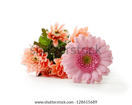 Studio macro of mother's day flowers with soft shadows against a white background. Copy space. - stock photo