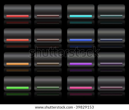 Studio metal glossy black buttons with colored led