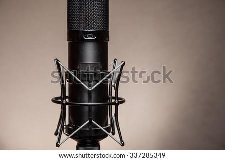 Studio microphone for recording. - stock photo