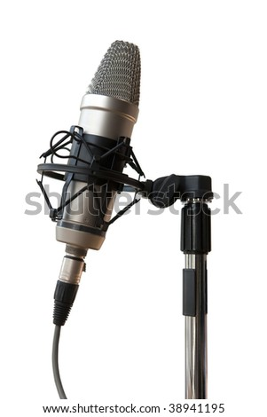 Studio microphone hanging from rubber bands to reduce noise - stock photo