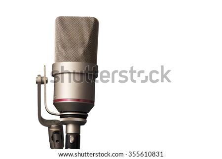 studio microphone in the recording studio - stock photo