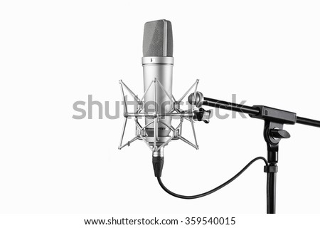 Studio microphone isolated on a white background. Condenser. - stock photo