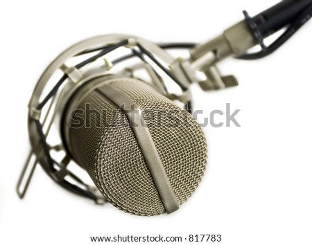 Studio microphone isolated (view from the top) - stock photo