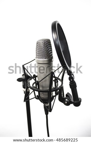 Studio microphone on a white background